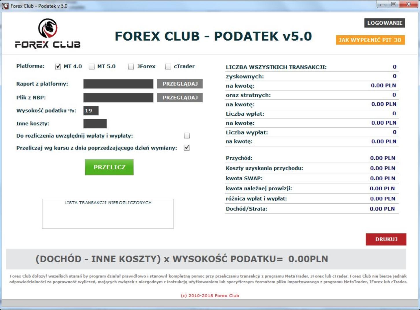 Forex Club - Podatek 5.0 - na rok podatkowy 2018