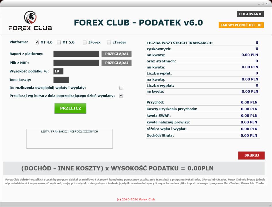 Forex Club - Podatek 6.0 - na rok podatkowy 2019