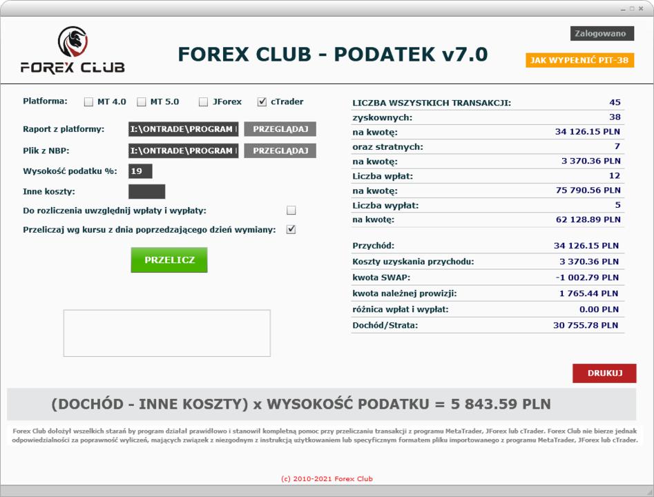 Forex Club - Podatek 7.0 - na rok podatkowy 2020